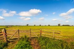 Picturesque Dutch polder landscape with wooden gate in foregroun. Picturesque Dutch polder landscape with a closed wooden gate in the foreground. The fence is stock photo