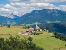 Picturesque elevated view to Mittelberg, Monte di Mezzo, Ritten, South Tyrol, Italy royalty free stock photos