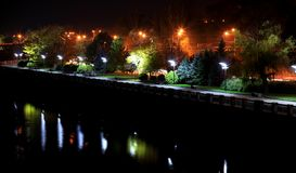 Picturesque Embankment of the Dnieper River in the   Dnipro city at night,  Ukraine. Stock Photography