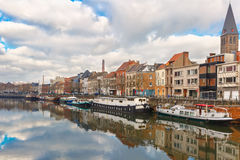 Picturesque embankment of the river Leie in Ghent Stock Image