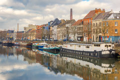 Picturesque embankment of the river Leie in Ghent Stock Photo