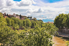Picturesque embankment of the Tiber River. Rome, Italy Royalty Free Stock Photos