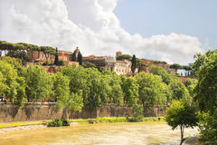 Picturesque embankment of the Tiber River in Rome Stock Images