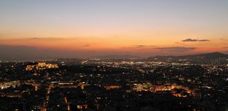 A picturesque evening over Athens royalty free stock images