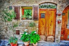 Picturesque facade of a San Gimignano house Royalty Free Stock Photo