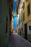 Picturesque facede,shutters and alleys in northern italy, near l Stock Photography