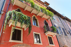 Picturesque facede,shutters and alleys in northern italy, near l Stock Image