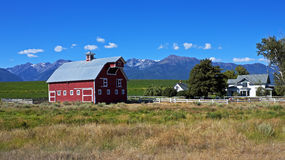 Picturesque farm, Oregon. Lovely farm scene beneath the Wallowa Mountains near the town of Joseph in northeast Oregon Royalty Free Stock Images