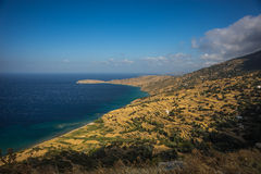 Picturesque fields separated by stone fences, Andros, Greece Stock Photos