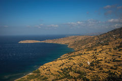 Picturesque fields separated by stone fences, Andros, Greece Stock Images