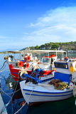 Picturesque fishermen boats Greece Stock Image
