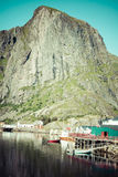 Picturesque fishing town of Reine by the fjord on Lofoten island Stock Photo