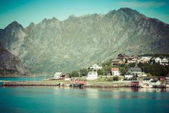 Picturesque fishing town of Reine by the fjord on Lofoten island Royalty Free Stock Photography