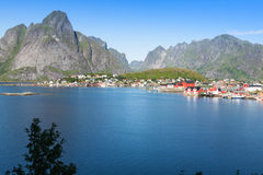Picturesque fishing town of Reine by the fjord on Lofoten island Stock Image