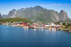 Picturesque fishing town of Reine by the fjord on Lofoten island Stock Photos