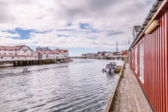 Picturesque fishing village  Henningsvaer on  Lofoten islands in Royalty Free Stock Photography