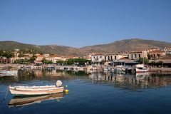 Picturesque Galaxidi, Greece, View Across Inner Harbour. View across the inner harbour at Galaxidi, Greece, to recreational yachts and fishing boats moored along royalty free stock photo