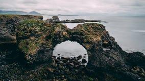 Picturesque Gatklettur arch rock near Hellnar, National park Snaefellsnes Peninsula, Iceland beautiful landscape stock image