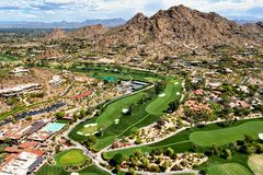 Picturesque Golf Course below Mummy Mountain Stock Photo