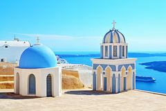 Picturesque Greek church dome Santorini top view Stock Images