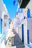 Picturesque Greek lane. Narrow white lanes on the island of Mykonos, Greece Stock Photos
