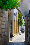 Picturesque Greek street in Lindos, Rhodes Stock Image