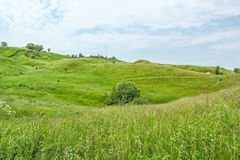 Picturesque green hills on a windy summer day Royalty Free Stock Photo