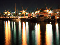 Picturesque harbor at night Royalty Free Stock Images