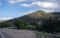 Picturesque highway. Journey to the Rocky Mountain National Park Stock Photo