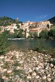 France, Languedoc-Roussillon, Herault, Roquebrun. The picturesque hillside village of Roquebrun by the River Orb, Herault,  Languedoc-Roussillon, France Stock Images