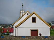 Tórshavn Cathedral in the old town of Tórshavn of the Faroe Islands. Picturesque historical centre view with Tórshavn Cathedral Havnar Kirkja, Dó royalty free stock image
