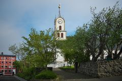 Tórshavn Cathedral in the old town of Tórshavn of the Faroe Islands. Picturesque historical centre view with Tórshavn Cathedral Havnar Kirkja, Dó stock photos