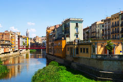 Picturesque homes on  river bank in Girona Royalty Free Stock Photos