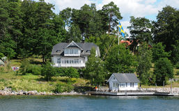 Picturesque house on a little island near Stockholm Royalty Free Stock Images