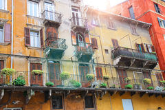 Picturesque house on the square Piazza delle Erbe, Verona, Italy Royalty Free Stock Photos