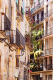 Picturesque houses of Barri Gotic Royalty Free Stock Image