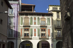 Picturesque houses in the city center of La Seu d'Urgell Royalty Free Stock Image