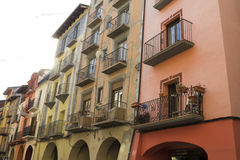 Picturesque houses in the city center of La Seu d'Urgell Royalty Free Stock Photo