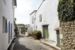 Picturesque houses in the city of Portes en Re on the Island of Re in the west of France stock photography