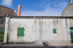 Picturesque houses in the city of Portes en Re on the Island of Re in the west of France stock image