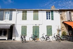 Picturesque houses in the city of Portes en Re on the Island of Re in the west of France stock images