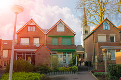 Picturesque houses on a city street in Meerkerk Royalty Free Stock Photography