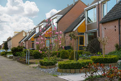Picturesque houses on a city street in Meerkerk, Netherlands Stock Image