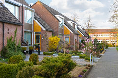 Picturesque houses on a city street in Meerkerk, Netherlands Royalty Free Stock Images