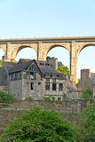Picturesque houses of Dinan. Brittany. Stock Photos