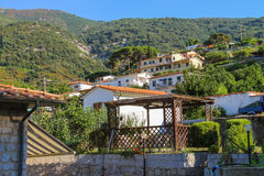 Picturesque houses on the hill in small town Marciana Marina Royalty Free Stock Images
