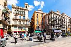 Picturesque houses at La Rambla Royalty Free Stock Photo