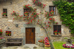 Picturesque houses in mountains village.  Rupit i Pruit. Catalonia Royalty Free Stock Images