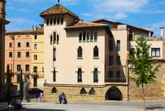 Picturesque houses of old  Catalan town. Vic Stock Photo