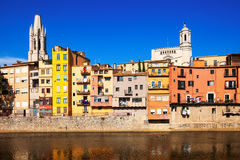 Picturesque houses on the river bank in Girona Royalty Free Stock Images